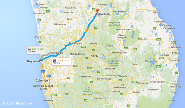 Mapa: trasa Negombo – Dambulla, Srí Lanka
