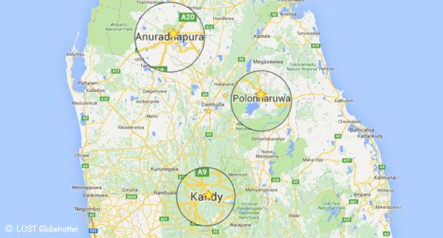 Mapa google: Kulturní trojúhelník (Anuradhapura - Polonnaruwa - Kandy), Srí Lanka
