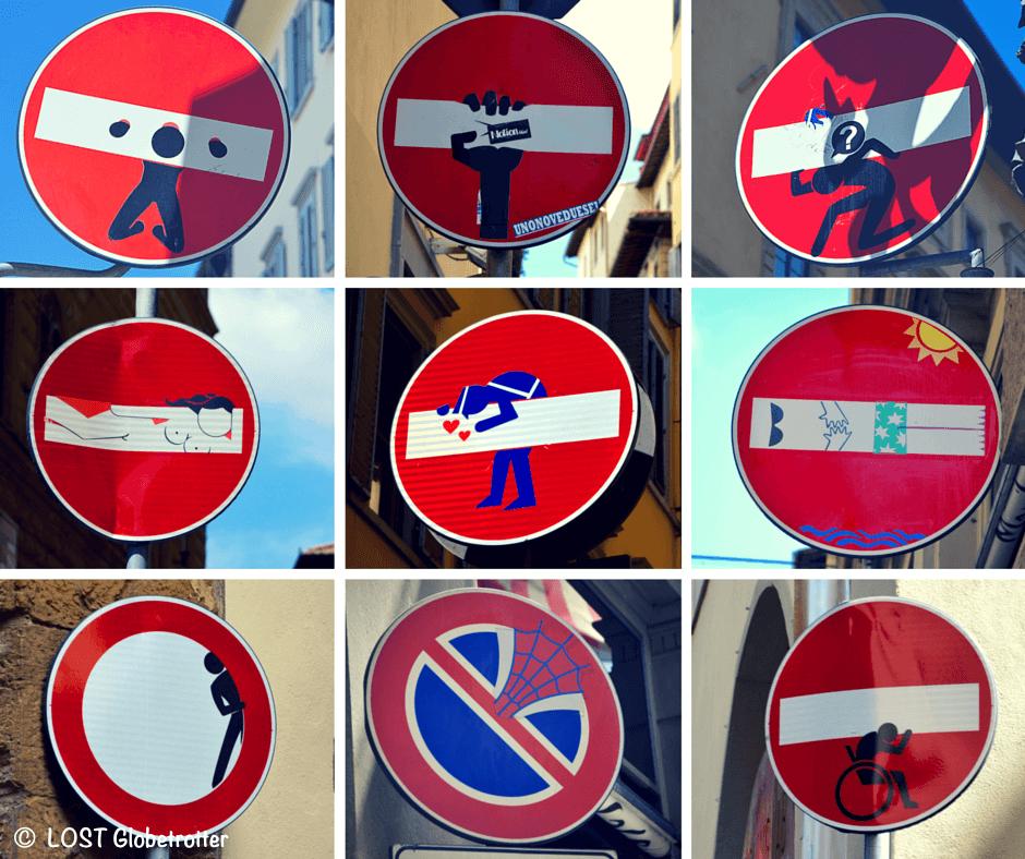 Street Art Florencie - Clet, Itálie
