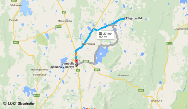 Mapa google: Dambulla - Sigiriya, Srí Lanka