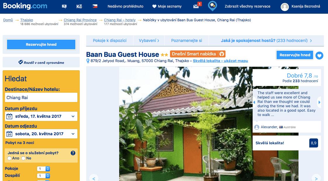 Thajsko ubytování na vlastní pěst vnitrozemí_Chiang Rai_Baan Bua Guest House_Booking.com