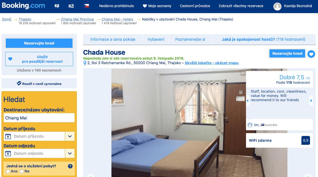 Thajsko ubytování na vlastní pěst vnitrozemí_Chiang Mai_Chada House_Booking.com