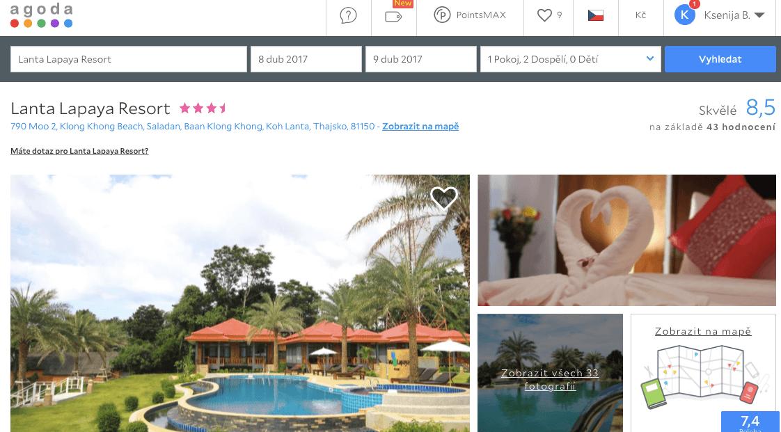 Lost Globetrotter_Thajsko ubytování na vlastní pěst ostrovy_Koh Lanta_Lanta Lapaya Resort_Agoda.com