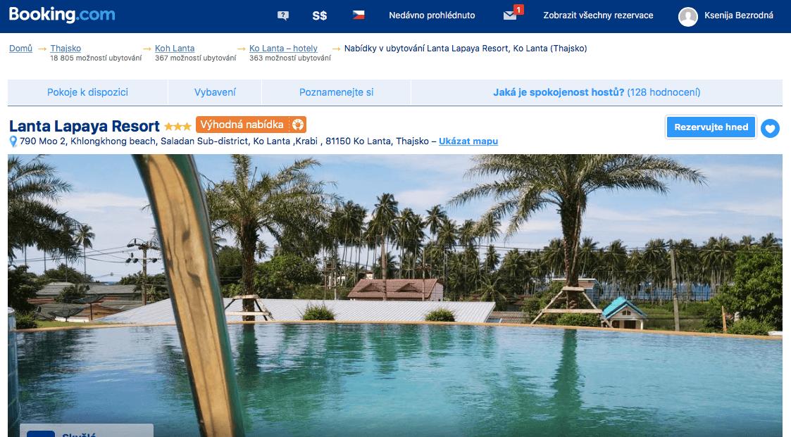 Lost Globetrotter_Thajsko ubytování na vlastní pěst ostrovy_Koh Lanta_Lanta Lapaya Resort_Booking.com