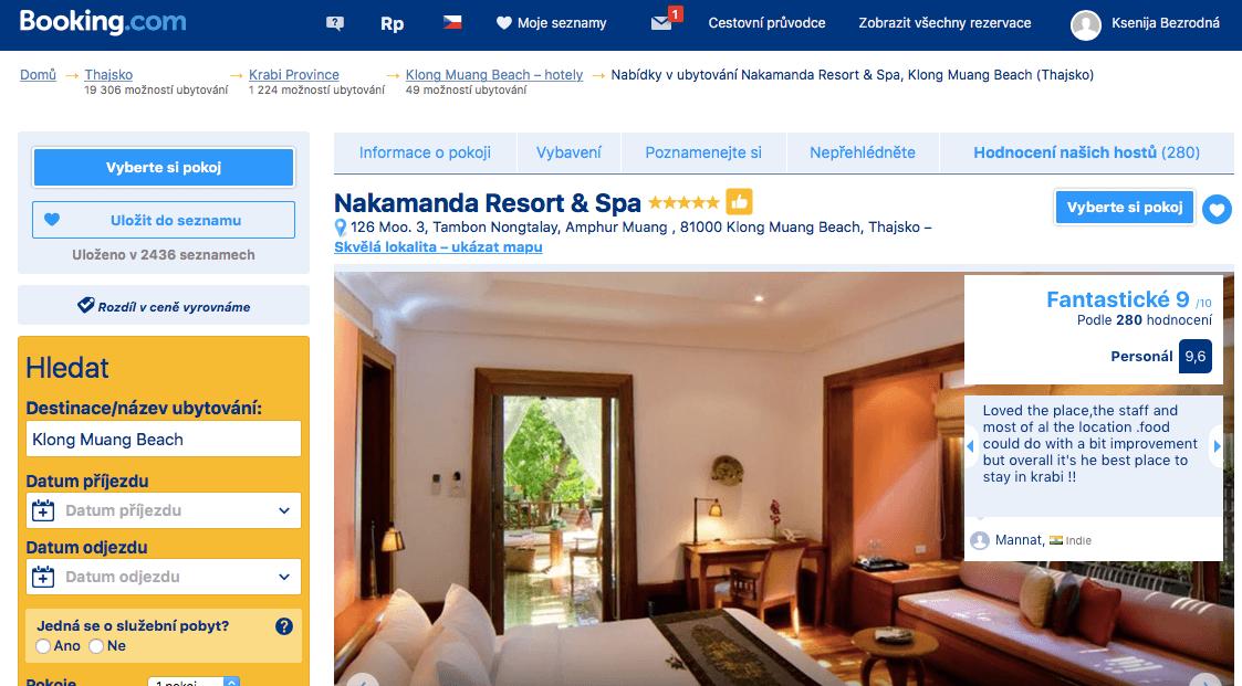 Lost Globetrotter_Thajsko ubytování na vlastní pěst ostrovy_Krabi Ao Nang Klong Muang_Nakamanda Resort & Spa_Booking.com