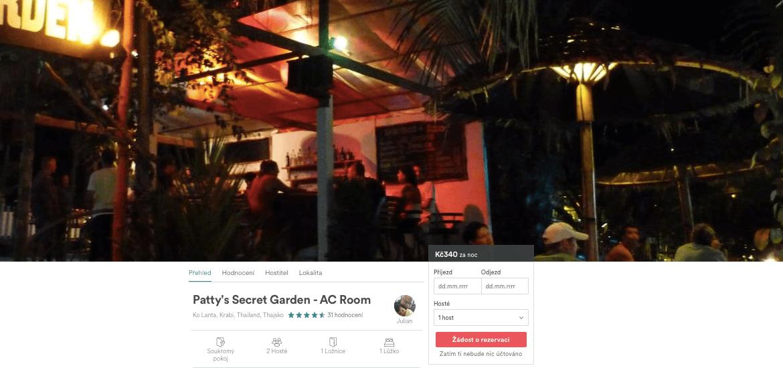 Lost Globetrotter_Thajsko ubytování na vlastní pěst ostrovy_Koh Lanta_Patty's Secret Garden_Airbnb.com