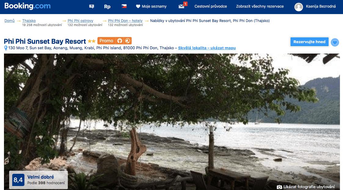 Lost Globetrotter_Thajsko ubytování na vlastní pěst ostrovy_Koh Phi Phi_Phi Phi Sunset Bay Resort_Booking.com