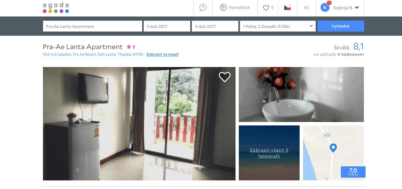 Lost Globetrotter_Thajsko ubytování na vlastní pěst ostrovy_Koh Lanta_Pra-Ae Lanta Apartment_Agoda.com