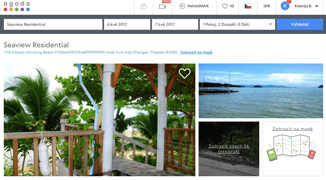 Lost Globetrotter_Thajsko ubytování na vlastní pěst ostrovy_Koh Phangan_Seaview Residential_Agoda.com
