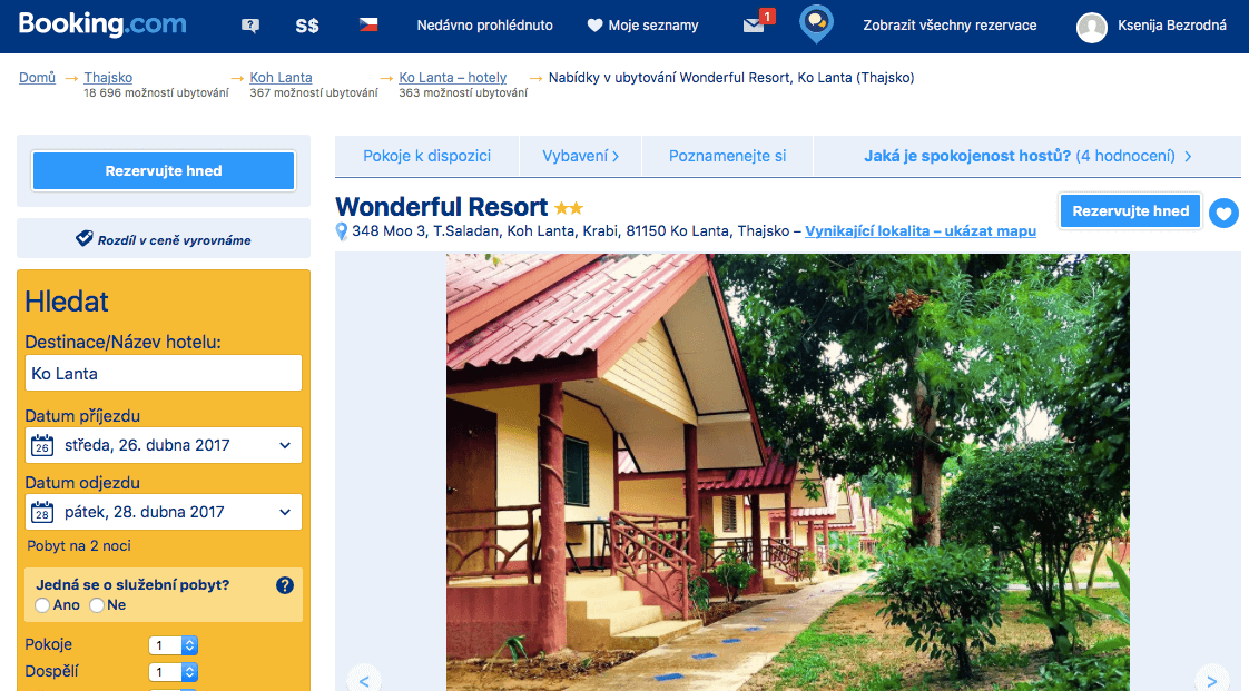 Lost Globetrotter_Thajsko ubytování na vlastní pěst ostrovy_Koh Lanta_Wonderful Resort and Bungalow_Booking.com